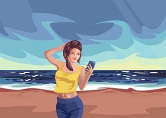 Girl on beach rest sea, Smartphone vector