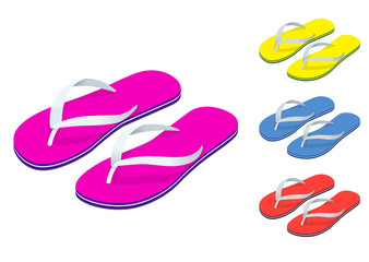 Isometric Slippers set of female with Multicolored slippers isolated on white background. Slippers for infographics and design