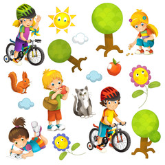 cartoon scene with set of different elements people and summer activity