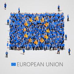 Large group of people in the shape of European union flag. Europe.