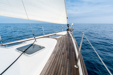 sailing in the Mediterranean sea on sailboat