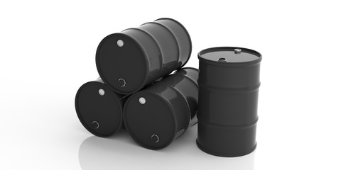 Oil barrels on white background. 3d illustration