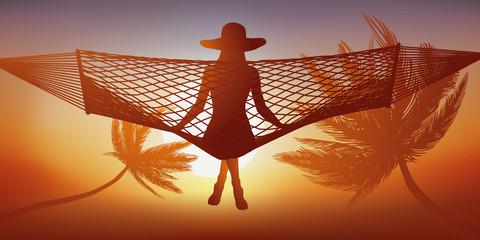 Hamac - Palmier - vacances - détente -  Coucher de soleil