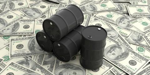Oil barrels on one hundred dollars banknotes. 3d illustration
