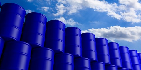 Oil barrels stack on blue sky background. 3d illustration