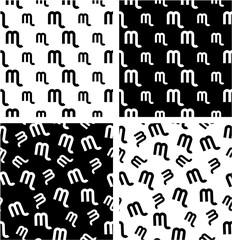 Zodiac Sign Scorpio Big & Small Aligned & Random Seamless Pattern Set