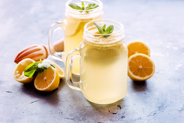 Fresh lemonade in mug jar with ice and mint Horizontal photo