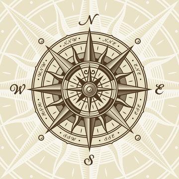 Vintage nautical compass rose