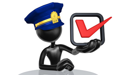 The Original 3D Character Illustration Police Officer With A Vote