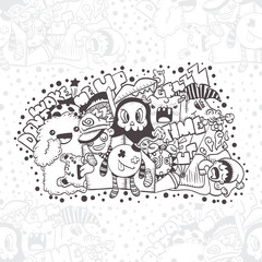 Seamless background. Pattern with crazy doodle the monster under the bed. hand drawn vector illustration