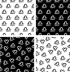 Zodiac Sign Libra Freehand Aligned & Random Seamless Pattern Set