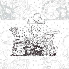 Seamless background. Pattern with  doodle the flowers with friends hand drawn vector illustration