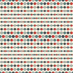 Seamless pattern with repeated horizontal lines and circles. Strings of beads motif. Minimalist geometric background.
