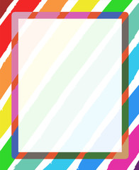 Multicolor striped color range brush frame with empty space for text.