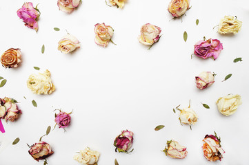 Pattern roses on the white background, top view, Flat lay.