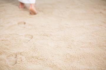 Jesus leaving footprints in sand Wall mural