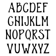 Hand drawn upper case alphabet. Vintage handwritten font in gothic style. Vector illustration