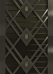 wall art deco style made of steel and gold background render