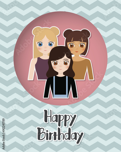 Happy Birthday Card With Anime Girls Icon Colorful Design Vector