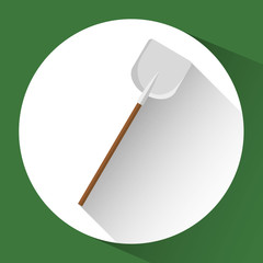 shovel icon gardening tool over white circle and green background. colorful design. vector illustration