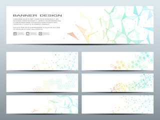 Set of modern scientific banners. Molecule structure DNA and neurons. Abstract background. Medicine, science, technology, business, website templates. Scalable vector graphics.