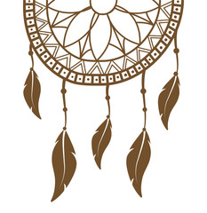 dreamcatcher icon over white background. boho style design. vector illustration