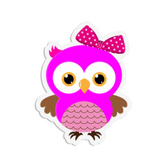 Sticker of a cute owl pink with a bow on a white background.