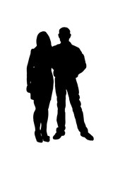 Silhouette of guests on wedding vector