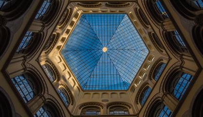 Hexagonal lead glass ceiling in atrium