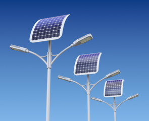 Row of LED street lamp with solar panel