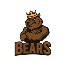 Strong bear with crown. Bear mascot. Bear logo isolated on white background. Vector stock.