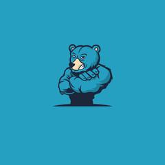 Strong bear. Bear mascot. Bear logo on a blue background. Vector stock.
