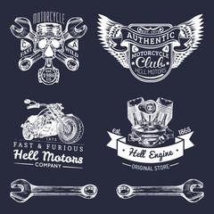 Vector biker club signs. Motorcycle repair logos set. Retro hand sketched garage labels. Custom chopper store emblems.