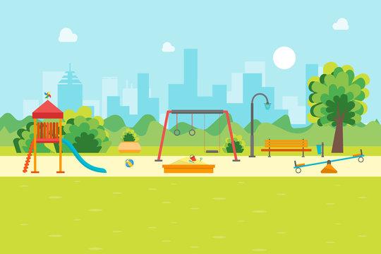 Cartoon Urban Park Kids Playground. Vector