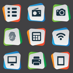Vector Illustration Set Of Simple Digital Icons. Elements Camera, Touch Computer, Tuner And Other Synonyms Thumbprint, Print And Radio.