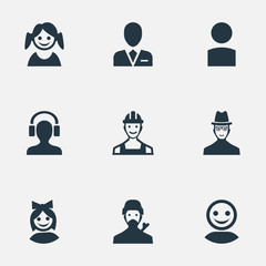 Vector Illustration Set Of Simple Avatar Icons. Elements Little Girl, Spy, Internet Profile And Other Synonyms Member, Engineer And Business.