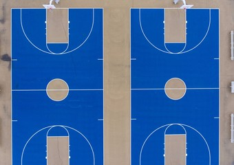 Basketball blue courts outdoors