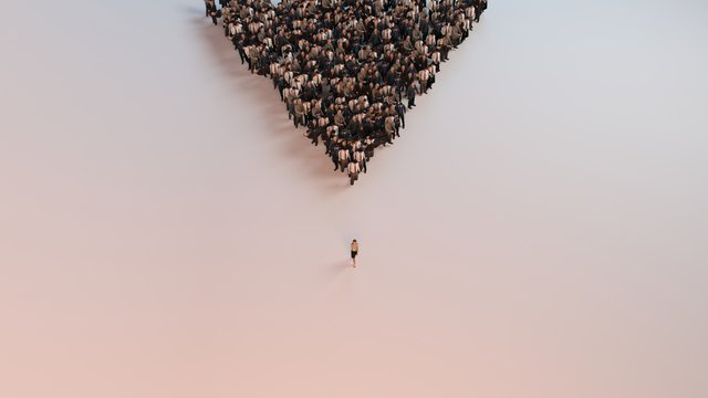single woman leading group of people 3d illustration