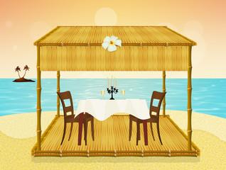 romantic dinner on th beach