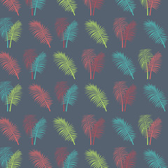 Tropical palm leaves vector fabric texture background