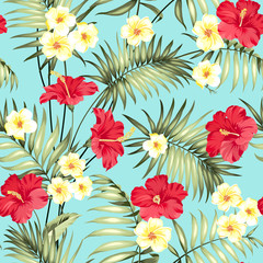 Tropical design for fabric swatch. Topical palm leaves and beautiful plumeria flowers on seamless patten over blue background. Vector illustration.