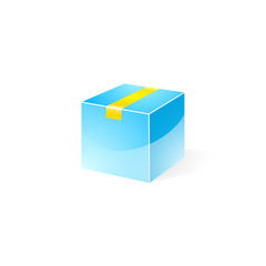 Blue Gloss Delivery Box with Yellow Tape