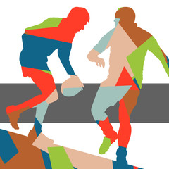 Rugby player active young man sport silhouette abstract background vector mosaic
