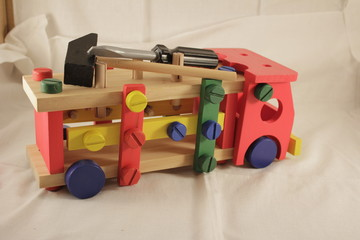 Toy car designer and tools, a hammer for children