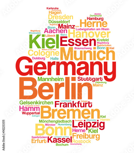 List of cities and towns in GERMANY map word cloud collage
