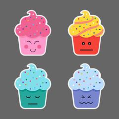 Set of cupcake emojis icons.