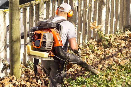 blower backpack with  gardener working in city park , blowing  leafs