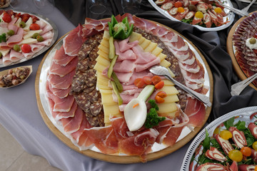 Spoed Fotobehang Voorgerecht Classic Croatian starter plate with Fine Croatian prosciutto, sliced salami and cheese