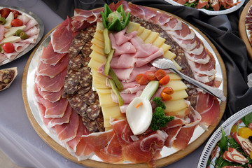 Classic Croatian starter plate with Fine Croatian prosciutto, sliced salami and cheese
