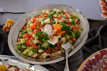 Door stickers Appetizer Classic Croatian plate with fine salad with cheese, pepper, cucumber and tomatoes;